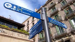 Arrows. Indication street in the Barcelona city centre stock images