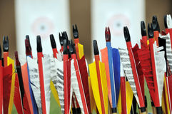 Arrows. Colorful arrows with targets in the background stock photo