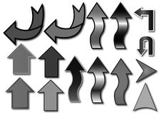 Arrows. Many arrows in a white background in varying colors Royalty Free Stock Image