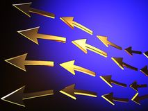 Arrows. Abstract blue background with golden arrows Royalty Free Stock Photos