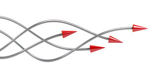 Arrows. Abstract drawing of twisted arrows of grey colour with red tips Stock Image