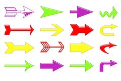 Arrows. Group detail of isolated arrows in multiple colors Stock Photo