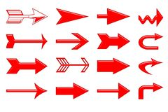 Arrows. Group detail of isolated blood stained arrows in multiple models Stock Photos