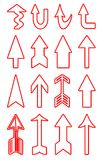 Arrows. Group detail of isolated blood stained arrows in multiple models Royalty Free Stock Images
