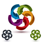 Arrows abstract conceptual symbol template, vector 3d pictogram Royalty Free Stock Photos