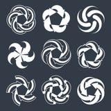 Arrows abstract loop symbols, vector conceptual pictogram templa Royalty Free Stock Photos