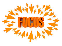 Arrows aimed at the word FOCUS. Stock Photography