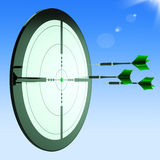 Arrows Aiming Target Shows Perfect Performance Royalty Free Stock Photography