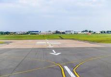 Arrows at airport runway landing Stock Photo