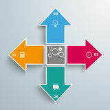 4 Arrows All Directions Gear Centre Infographic. 4 colored arrows with gears on the grey background stock illustration
