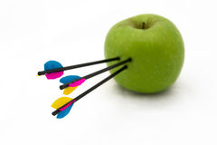 Arrows on apple Royalty Free Stock Photography