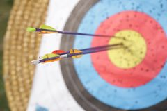 Arrows in archery target. On archery range Royalty Free Stock Images