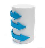 Arrows around a cylinder Stock Image