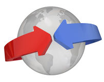 Arrows Around Globe International Relations Stock Image