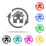 arrows around the house icon. Elements of real estate in multi colored icons. Premium quality graphic design icon. Simple icon for royalty free illustration