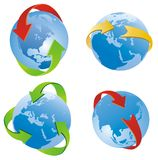 Arrows around the planet Stock Images