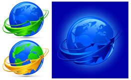 Arrows around planet. Circle arrows around blue planet, globalization vector illustration Royalty Free Stock Image
