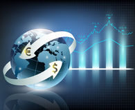 Arrows around planet earth and world currency Stock Photo