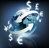 Arrows around planet earth and world currency Royalty Free Stock Image