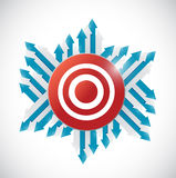 Arrows around a red target. illustration design Stock Images