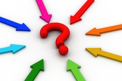 Arrows arranged around the question mark Royalty Free Stock Images