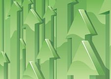 Arrows Background. Abstract background with green 3D arrows pointing up. No transparency used. Basic (linear) gradients used Stock Image