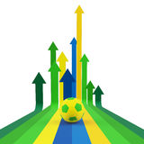 Arrows Background in Brazil Flag Concept, Soccer Royalty Free Stock Photos