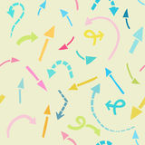 Arrows background. Seamless pattern of simple cartoon colourful arrows Royalty Free Stock Photography