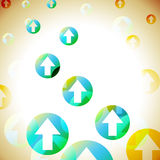Arrows Background Shows Bubbles Pointing Upwards Stock Photo
