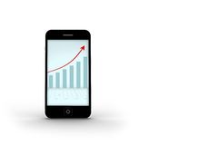 Arrows and barchart on smartphone screen Royalty Free Stock Photo
