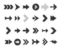 Arrows Big Black Set Icons. Arrow Icon. Arrow Vector Collection. Arrow. Cursor. Modern Simple Arrows. Royalty Free Stock Photo