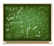 Arrows on blackboard. Illustration of arrows on blackboard Royalty Free Stock Image