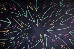 Arrows on blackboard Royalty Free Stock Photo