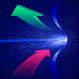 Arrows blue binary tunnel Stock Photo