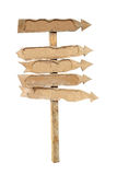 The arrows of the boards on a wooden post. Stock Image