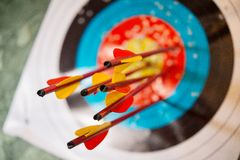 Arrows from the bow hit the target Stock Photos