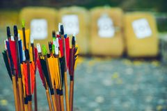 Arrows bows and targets. Outside sport challange Royalty Free Stock Photography