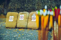 Arrows bows and targets. Outside sport challange Stock Photos