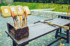 Arrows bows and targets. Outside sport challange Stock Photography