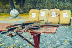 Arrows bows and targets. Outside sport challange Royalty Free Stock Photos