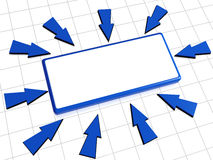 Arrows and box. 3d box with white space and blue arrows Stock Image