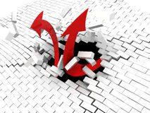 Arrows breaking wall. 3d illustration of two arrows breaking brick wall Royalty Free Stock Images