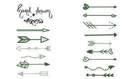 Green Arrows brush hand drawing on white background. Business greeting card, postcard, design symbol, ui element, graphic pointer royalty free illustration