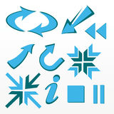 Arrows, bullet, icons, signs. Design, bullet, mixed, signs, icons, aged, art, play, stop, forward, information Royalty Free Stock Images
