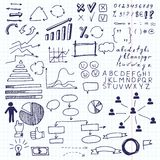 Arrows and business elements, info graphic. Set of doodle business charts info graphics elements  on a sheet in a cage Stock Photos