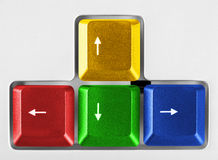 Arrows buttons on computer keyboard Stock Images