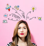 Arrows with cartoon with young woman Royalty Free Stock Photos