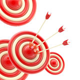 Arrows in the center of the red target Royalty Free Stock Photos
