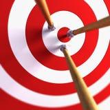 Arrows in the centre of tagret. 3d close-up scene the arrows in the centre of target royalty free illustration