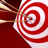 Arrows in the centre of tagret. 3d rendering of the arrows and target stock photography